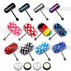 Colorful Vibrating Tongue Bar Ring Stud With 4 Batteries Body Piercing Jewelry