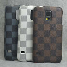 For Samsung Galaxy S5 SV G900 New checker PU Leather Design hard case cover