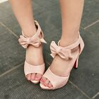 Womens Chic Open Toe Bowtie Peep Toe Ankle Strap High Heel Sandals Shoes Size 10