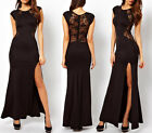 Ladies Lace Long Bodycon Evening Cocktail Fashion SEXY Dress Cut Out Black Red 1