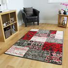 New Warm Grey Rich Red Modern Patchwork Patterned Cheap Floral Print Floor Rugs