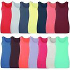 LADIES REGULAR FIT PLAIN VEST TOP WOMENS BASIC COTTON T-SHIRT TANK TOPS S-XL