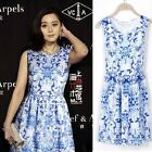Elegant Lady Blue Chinese Porcelain Print Dress Sleeveless Casual Slim Dress