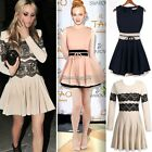 Sleeveless Business Party Skater Skirt Lace Crochet Long Sleeve Bodycon Dress
