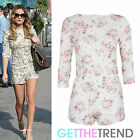 Womens Celeb Inspired Floral Playsuit Ladies 3/4 Sleeves Shorts All In One