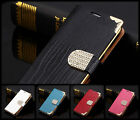 leather Shining Crystal Flip Wallet Bling case cover for Samsung Galaxy S5 I9600
