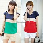 Korea Women Striped Chiffon Loose Tops Short Sleeve T-Shirt Ladies Blouses  C1MY