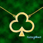 14k Yellow GOLD LUCKY SHAMROCK LEAF CLOVER  NECKLACE IRISH CHARM St Patrick's