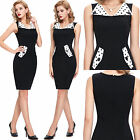 NEW VINTAGE CHIC ROCKABILLY RETRO BLACK PENCIL WIGGLE PIN UP PARTY BODYCON DRESS