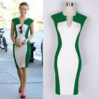 Women Celeb Party Wear To Work Evening Cotton Colorblock Bodycon Pencil Dress