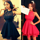 2014 Women's Chiffon Retro Punk Rock Spring Summer Party Dress Back Holes Design
