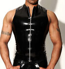MENS RUBBER SLEEVELESS T SHIRT WITH ZIP