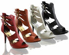 Ladies Womens Strappy High Heel Open Toe Sandals Shoes Zip Buckles Sexy Size