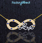 """14k Two-Tone Gold  Infinity """"Love"""" Script Necklace with 7 Diamonds 7 Sapphires"""