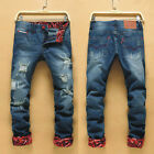 Cool Men Cowboys Slim Fit Causal Straight Leg Long Jeans Durable Pants Trousers