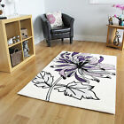 Modern Anti Shed Stain Resistant Purple Cream Rugs Large Bold Floral Motif Mats
