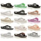 WOMENS LADIES SLIP ON FLIP FLOP SUMMER BEACH GEM FLAT WEDGE JEWEL SANDALS SIZE