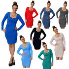 Womens Ladies Sexy Mini Square Plus V Neck Long Sleeve Tunic Dresses Top ~4001V~