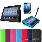 PU Leather Magnetic Folio Case Cover Screen Protector for Apple iPad 4, iPad 3 2
