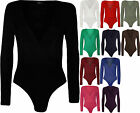 New Plus Size Womens Wrap Long Sleeve V Neck Ladies Bodysuit Leotard Top 16-20