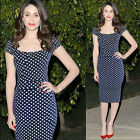 2014 Womens OL Lady Wear to Work Celebrity Polka Dots Stretch Pinup Pencil Dress