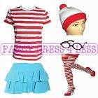 RED & WHITE STRIPED TSHIRT GLASSES RARA SKIRT HAT GEEK FANCY DRESS HEN FUN