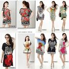 Women's Large Size Retro Boho Ice Silk Dress Floral Casual T Shirt Blouses Tops