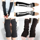 Fashion Women Wrist Soft Arm Warmers Long Mitten Gloves Knit Stripes Fingerless