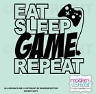 Eat Sleep Game Repeat Quote Vinyl Wall Decal Lettering Game Room Decor Play Room