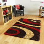 Small X Large Thick Soft Easy Clean Modern Rugs Chocolate Brown Red Shaggy Rugs
