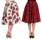 Hell Bunny Poppy Cannes High Waist Floral Skirt Red Black White 50s Prom Vintage