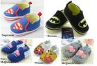 Baby Boy Batman Superman Cars Winnie Canvas Slip-ons Shoes 0-18 mths Size 1/4/5