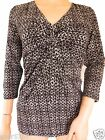 NEW Ex LAURA ASHLEY Black & White Jersey V Neck Casual Top Size 10 - 20