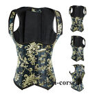 Goth Blue Brocade Underbust Corset Bustier Shaper with Halter Party Club Top