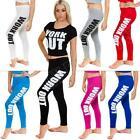 New Ladies Womens Slogan Work Out Print Leggings Pants Trousers Size 8 10 12 14