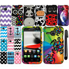 For Alcatel One Touch Evolve 5020T Design PATTERN HARD Case Phone Cover + Pen