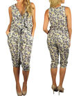 Women Floral Ruffle Romper Jumpsuit Playsuit with pockets Size 10 M 12 L NEW
