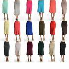 Women Jersey Knit Slim Pencil Band Waist A-Line Knee Length Stretch Skirt