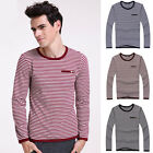 Trendy Chic Stripe Mens Slim Comfort Long Sleeve T-Shirt Tee Tops In XS S M L XL