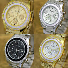 Fashion Crystal PAIDU Golden Silver Plated Stainless Steel Mens Quartz Watch
