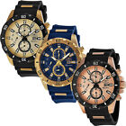 Invicta Multifunction Gold Tone Stainless Steel Rubber Strap Mens Watch