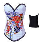 Sexy Punk Floral Print Tattoo White Corset Top Hook & Eye Boned Outerwear Basque