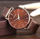 Casual SINOBI S9141 Simple Big Dial Ultra Thin Mens Brown Leather Wrist watch