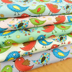 "PER 1/2 metre TWEET bird fabric 5 colours 112cm 44 "" wide  100% cotton poplin"