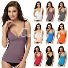 Women Modal V-Neck Built In Bra Padded Self Bra Belted Camisole Vest Tank Top