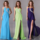 CHEAP One Shoulder Bead Bridesmaid Evening Party Dress Ball Gown Long Maxi Dress