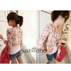 Fashion Lady Floral Zipper Short Jacket Girl Spring Summer Chiffon Shrug Tops S