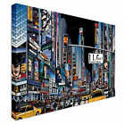Illustration of a street in NYC a Night Canvas Wall Art Print Large Any Size