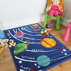 Small Large Blue Space Planet Child's Activity Mats Non-Slip Boys Playroom Rugs