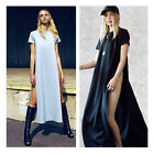 New Fashion Round Neck Celebrity Casual Side Slits Long Top Maxi Dress Hot